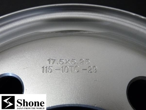 新品SHONEトラック鉄ホイール 2本 17.5×5.25 5H PCD 203.2㎜ +115 ハブ径 146㎜ 穴径 29㎜ 2t車 エルフ