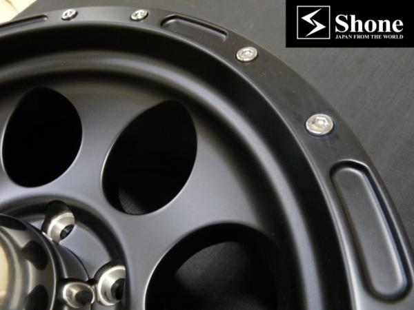 マッドブラック アルミホイール 16×8J SHONE OFF-ROAD 139.7mm 6穴 オフセット±0 4本価格 山形発