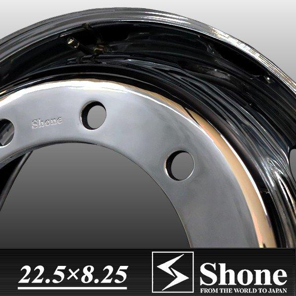 大型 高床用 22.5×8.25 スチールホイール クロームメッキ フロント用 10穴 オフセット+165 1本価格 ISO規格 SHONE製 NEWモデル